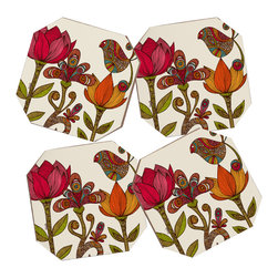 Valentina Ramos In the Garden Coasters, Set of 4 - Say goodbye to water rings on your furniture and hello to the stylish solution: DENY Designs' Coaster Set. Available in a set of four, you can also opt for the coaster tray to house the set or go the a la carte route. Either way, your glasses are going to get a fun drinking companion!