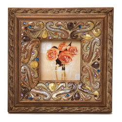 """Traders and Company - Enamel Inlaid 3x3 Wood Picture Frame w/ Jewels, 6.25""""Lx1""""Wx6.25 - Ventfort - Crafted from wood and given a classically antiqued look, each frame is dramatically inlaid with swirled resinous enamel. Embedded colorful rhinestone jewels dot the design, adding sparkle and shimmer to your photos. Each frame comes with an attached kickstand for desktop use, or hooks for vertical or horizontal wall hanging. Fits 3""""x3"""" photos. Alternate shapes & styles sold separately. Dimensions: 6.25""""Lx1""""Wx6.25""""H"""