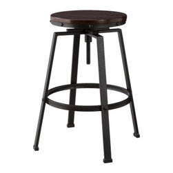 Threshold Lewiston Adjustable Height Swivel Stool - This is one of the most affordable and nicest looking industrial stools. I love the nailhead trim around the seat.