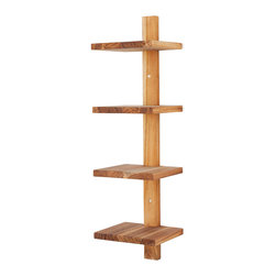 Rustic Wood Wall Shelf - How does your wall stack up? Whether showcasing your latest reads, providing a new home for a favorite plant, or simply for your bathroom towels, these perfectly vertical shelves give you the storage you need without taking up floor space. Their teak golden hue and compelling angular design blend seamlessly into any room in the house. Made of teak wood