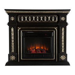 Southern Enterprises - Cain Electric Fireplace - This electric fireplace is the definition of stately! The painted black finish and beautiful, hand-painted gold accents produce a sense of elegance and world travel - an instant must have. To top it off, this fireplace requires no electrician or contractor for installation, allowing for instant remodeling without the usual mess or expenses. This fireplace features hand-carved rosettes and ornate details. The French influences and Victorian-esque elements of the design make it a beautiful focal point in any room. The electric fireplace insert requires no permanent wiring or ventilation - simply plug it into any wall outlet and enjoy the romance of a realistic fireplace. The electric insert features realistic flickering flames and glowing embers - brightness of each can be adjusted with a simple push of a button. in addition to adjusting the thermostat, the electric fireplace also offers the option of using with or without heat for year-round enjoyment. Convenience and ease of assembly are just two of the reasons why this fireplace is perfect for your home. The ornate, elegant style of this fireplace works well in traditional and transitional homes. This handsome fireplace is great for the living room and bedroom, and even adds a warm, romantic touch to the dining room or home office. Let this portable fireplace give your home a more welcoming and enjoyable atmosphere.