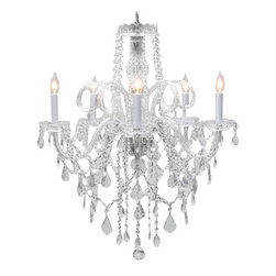 "The Gallery - Authentic All Crystal Chandelier Chandeliers H30"" X W24"" - A Great European Tradition. Nothing is quite as elegant as the fine crystal chandeliers that gave sparkle to brilliant evenings at palaces and manor houses across Europe. This beautiful crystal chandelier is decorated with 100% Crystal that capture and reflect the light of the candle bulbs, each resting in a scalloped bobache.The timeless elegance of this chandelier is sure to lend a special atmosphere in every home! This item comes with 18 inches of chain. SIZE:H.30"" W.24"" 5 LIGHTS, assembly required Lightbulbs not included"