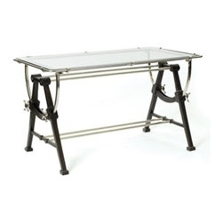 Go Home ltd - Nautical Table Desk - Back to charting out your course on this elegant nautical-style desk of blackened iron with polished nickel-plated brass accents and a glass top.