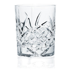 """Godinger Silver - Dublin Crystal Double Old Fashion Glasses - Set of 4 - The Dublin Crystal Double Old Fashion Glasses bring a touch of Irish magic to your table. This set of 4 glasses from the Shannon collection features deep decorative etchings that glint and sparkle in the light. Each 8-oz. glass is handcrafted of 24% lead crystal, using centuries-old techniques perfected by Bohemian artisans. Dublin collection is the # 1 collection in Godinger for the past 35 years. Outfit your home bar with full selection of matching drinkware from the Dublin Crystal collection (sold separately).                  *Set of 4        *Capacity:8 oz. * Dimensions: 3.25""""D x 3.88""""H"""