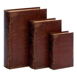 Benzara - Wood Leather Book Box - Set of 3 - Wood Leather Book Box S/3 a set of three is anytime best buy for everyone. It makes the room decoration more reflective and meaningful.