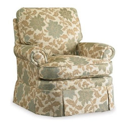 Sam Moore Brookville Swivel Glider - Estrella Natural - The Sam Moore Ellen Swivel Glider - Estrella Natural has a traditional look and all the bells and whistles that make it ultra-comfy. This chair has a rolled-tight back and arms, loose back cushion, and a handsome skirt in a classic botanical print fabric. Its gliding and swivel capabilities make it just right for any room.About Sam MooreSince 1940, Sam Moore's hand-crafted upholstered furniture has offered extraordinary quality, comfort, and style. This Bedford, Virginia-based company proudly crafts its products right here in the USA. From classic to transitional to contemporary styles, Sam Moore takes time with every detail, making sure each piece is something you'll appreciate in your home.