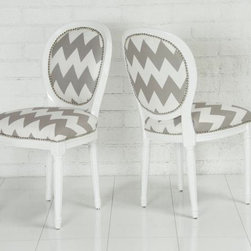 "Chevron Print Louis Dining Chair - I am absolutely smitten with these dining chairs; the pattern is the perfect scale, and it is just enough to say, ""Hey, take a look at me!"""