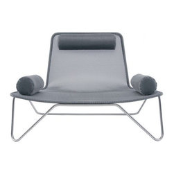 """Blu Dot - Dwell Lounge Chair - It is rare for a nearly transparent design to have such presence, but noted architect Ralph Rapson achieved exactly that with the Dwell Lounge Chair. With a skillful union of mesh and steel, with silver or satin black powder coating, this lounge chair is a masterpiece. Winner of the 2007 Blu Dot & Dwell magazine design competition, its presence rarely goes unnoticed. Choose from silver or lilac mesh-whichever suits your taste best and bring this chair indoors or outdoors for some peace of mind. Awards:Winner of Blu Dot and Dwell Magazine design competition, 2007 Features: -Upholstered in your choice of lilac or silver mesh. -Stainless steel frame. -Includes cylinder shaped headrest and two arm rest pillows. -Can be used indoors and outdoors. Specifications: -Seat dimensions: 16"""" H. -Overall dimensions: 33"""" H x 49"""" W x 34"""" D. Order with Confidence: -Should you discover shortly after receiving your Blu Dot Dwell Lounge Chair that parts are either damaged or missing, please call us immediately, and we will be happy to send you replacement parts as soon as possible and at no additional cost.."""