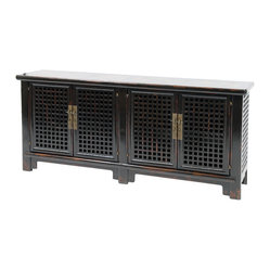 Sideboard 4 Door With Marble, Black