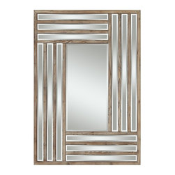 "Cooper Classics - Shelby Light Natural Rustic Wood Rectangular Mirror - Light Natural Rustic Wood Finish; Beveled Mirror, Frame Dimensions: 30""W X 42""H, Mirror Dimensions: 12""W X 24""H, Finish: Light Natural Rustic Wood, Material: Wood, Beveled: Yes , Shape: Rectangular, Weight: 36 lbs, Included: Brackets, Ready to Hang Vertically or Horizontally"