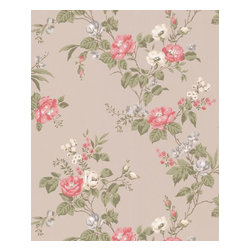 Graham and Brown - Cottage Garden Wallpaper - Taupe/Raspberry - Cottage Garden wallpaper - beautiful climbing roses adorn this amazing floral wallpaper that will look fantastic on any wall.