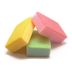 Spotless - The Pastel Colored Sponges - get your dishes to sparkle and shine without bringing down your kitchen with boring, ugly colors. these cute pastel sponges get the work done without sacrificing any of the chic styling you apply to everything else distinctly you. comes in a pack of 3 random colors out of pink, yellow, green, turquoise, and blue.