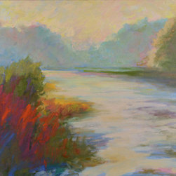 """Illuminated Morning"" (Original) By Janet Howard-Fatta - The Fog Catches The Light On Wawayanda Lake And Turns The Foliage Into Brilliant Color. Painted Plein-Air. (Outside On Location)"