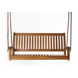 All Things Cedar - TEAK  SWING - Handcrafted from genuine Solid Teak  by skilled artisans and appointed with a NATURAL TEAK oil assures a lifetime of continued use. : DIMENSIONS : 54w x 22d x 26h --- SEAT : 50w x 21d (knockdown)