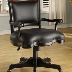Hooker Furniture - Preston Ridge Upholstered Desk Chair - Leather seat and back. Tilt and swivel. Pneumatic gas lift. Five casters. Made from hardwood solids with cherry veneers. Distinctive black rub-through with rich contrasting cherry finish. Minimum arm height: 24.75 in.. Maximum arm height: 27.75 in.. Arm to arm narrowest angle width: 18.75 in.. Arm to arm widest angle width: 22.25 in.. Seat depth: 23 in.. Seat height: 22 in.. Overall: 24.75 in. W x 25.38 in. D x 39.38 in. H. Assembly Instruction
