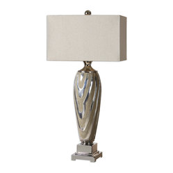 Uttermost - Allegheny Table Lamp - Bedside, chair-side or fireside, you'll take an instant shine to this high-fashion table lamp. All dressed in sandy beige and glossy silver — and lofted by a rectangular linen shade, this lamp is ready to shed some stylish light your way.