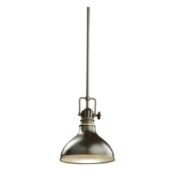 "KICHLER - KICHLER Traditional Mini Pendant Light X-ZO4662 - Give your home a striking industrial atmosphere with this mini pendant light by Kichler Lighting. The old bronze finish really highlights the sleek design of the metal shade and fixtures. 1 light, 100-W (M) max. Diameter 8"", body height 10 1/2"" and overall 48"". Extra lead wire 100"". For additional chain order No 2996NBR. For additional stem order No. 2999 (12"")NBR."