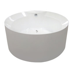 Aquatica - Aquatica PureScape 141 Freestanding Acrylic Bathtub - With the gravitas and magnetism of a celestial body, the Purescape 141 freestanding round bathtub invites the rest of the bathroom design scheme to revolve around it. Though the walls of the tub are satisfying deep, the rim slopes sharply inward like a basin on the surface of the moon.