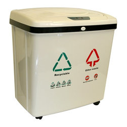 iTouchless - iTouchless 2 Compartment Recycle Touchless Trashcan 16 gal. Plastic Multicolor - - Shop for Recycling Bins from Hayneedle.com! This iTouchless 2-Compartment Recycle Touchless Trashcan 16 Gallon Plastic model has two 8-gallon separated compartments for organizing trash and recyclable materials in one unit without touching the trash can. Simply place your hand or debris about 5 inches away from the sensor and the lid will open automatically. The lid will remain open if debris or your hand is within the 5 inches range of the infrared sensor. It will close automatically after 3 seconds. You can also turn off the sensor feature by the on/off switch on the back of the trash can. The gray plastic recycle bin fits any regular 10- or 13-gallon trash bag in each compartment and it includes two inner plastic buckets for easy cleaning. The bin includes four wheels for easy transportation. Uses 4 D-size batteries (not included) with an optional AC power adapter. Dimensions: 23.23L x 14.76W x 24.61H inches.About iTouchlessiTouchless Housewares & Products creator of the Touchless Trashcan EZ Faucet and Towel-Matic manufactures and distributes a line of innovative products for your home and office. Their mission: to make people's lives a little easier by using their products. Over the last 15 years iTouchless has established a solid foundation and assembled multiple factories in Asia to support the increasing demand of sensor-activated products. Their vision for the future is to create a continuous stream of customer-driven innovations while selecting strategic partners and distributors to form mutually beneficial relationships.
