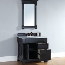 36 Inch Brookfield Antique Black Vanity with Drawers - Please note: Vanities are priced with no vanity top. Multiple vanity top options available.