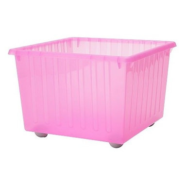 K Hagberg/M Hagberg - VESSLA Storage Crate with Casters, Light Pink - Kids have a lot of stuff and need storage. I picked up a few of these from Ikea a few months back for my girls. Each has a lid and wheels.