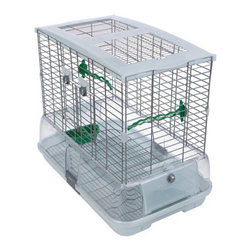 Vision - Vision Large Wire Bird Cage for Medium Birds Multicolor - 83260 - Shop for Bird Cages and Stands from Hayneedle.com! Birds will love the Vision Large Wire Bird Cage for Medium Birds with various feeders and perches throughout and plenty of space to roam. Multiple-grip perches promote circulation and prevent foot problems. The cage is made of safe non-toxic materials. You ll be happy with the enclosed base which minimizes seed and waste spillover. This base also features ridges for ventilation and to prevent mildew.