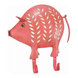Zeckos - Distressed Finish Pink Pig 2 Hook Wall Mounted Coat Rack - This beautiful, pink pig 2 hook wall mounted hanger can be used for many different things. In the kitchen, it can be a mug rack for coffee mugs. In the hallway, you can hang your coats and sweaters from it. In the bedroom, hang hand scarves and other accessories The hanger measures 10 1/2 inches tall, 10 inches wide, and features an artificially aged pink finish, with off-white leaf and spot accents. It makes a great gift for pig lovers.