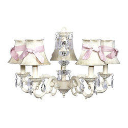 Belle & June - The Charlotte Chandelier - This strikingly elegant 5-arm ivory chandelier features ivorydupioni silk shades, a dramatic crystal ball center, and hanging crystals throughout. Hang this show stopping light chandelier in a little girl's bedroom to create a space she'll adore.