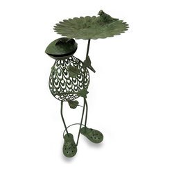 Zeckos - Green Filigree Frog Holding Sunflower Metal Bird Feeder 32 In. - This green frog sculpture springs your garden to life while happily holding a blooming sunflower providing the birds a place to dine Since beauty is in the details, this frog has a beautiful filigree body and a lovely weathered finish, sure to liven up the yard or patio. Standing at 32 inches (81 cm) high, 15 inches (38 cm) long and 12 inches (30 cm) wide, this fun frog bird feeder sculpture makes a wonderful housewarming gift any frog fancier is sure to enjoy