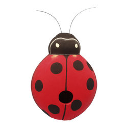 Songbird Essentials - Ladybug Birdhouse - Songbird Essentials adds color and whimsy to any garden with our beautifully detailed wooden birdhouses that come ready to hang under the canopy of your trees. Hand-carved from albesia wood, a renewable resource, each birdhouse is hand painted with non-toxic paints and coated with polyurethane to protect them from the elements. By using all natural and nontoxic components Songbird Essentials has created a safe environment complete with clean-out for our feathered friends.