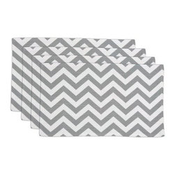 Chooty and Co Zig Zag Ash Lined Placemat - Set of 4 - Complement your dining decor with a dash of contemporary style -the Chooty and Co Zig Zag Ash Lined Placemat - Set of 4 is crafted of durable, 100% pure cotton and features a bold, clean pattern of zig zag stripes in silvery gray. Made in the USA. Hand-wash or spot-clean.About Chooty & Co.A lifelong dream of running a textile manufacturing business came to life in 2009 for Connie Garrett of Chooty & Co. This achievement was kicked off in September of '09 with the purchase of Blanket Barons, well known for their imported soft as mink baby blankets and equally alluring adult coverlets. Chooty's busy manufacturing facility, located in Council Bluffs, Iowa, utilizes a talented team to offer the blankets in many new fashion-forward patterns and solids. They've also added hundreds of Made in the USA textile products, including accent pillows, table linens, shower curtains, duvet sets, window curtains, and pet beds. Chooty & Co. operates on one simple principle: What is best for our customer is also best for our company.