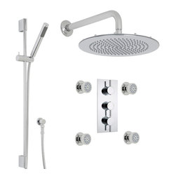 "Hudson Reed - Quest Thermostatic Shower System Set 3 Outlets 12"" Head Handset 4 Jets in Chrome - Enhance your modern bathroom with the Quest shower kit from Hudson Reed, which comes complete with the thermostatic triple shower valve, four massaging body jets, slide rail kit and the 12"" fixed shower head with wall mounted arm. Made in Great Britain, the thermostatic shower valve incorporates a built-in anti-scald device for a safer showering experience."