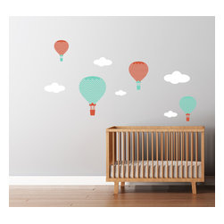 Cherry Walls - Hot Air Balloons Decals Large Chevron Pattern - Go around the world from the comfort of your own home. With these intrepid hot air balloon decals, your wall becomes a window to a world of exciting adventure. Perfect for the nursery or even as a whimsical addition to your framed travel photos, the puffy clouds and floating vessels will carry your imagination along with them.