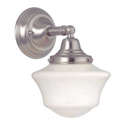 Design Classics Lighting - Schoolhouse Sconce in Satin Nickel Finish - WC1-09 / GC6 - Satin nickel finish sconce with Ballard schoolhouse style opal white glass. Takes (1) 60-watt incandescent A19 bulb(s). Bulb(s) sold separately. UL listed. Dry location rated.