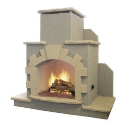 Cal Flame Outdoor Fireplace - The Cal Flame Outdoor Fireplace is an impressive addition to your outdoor setup that stands at an impressive 78L x 28W x 72H inches in size. This stunning backyard fireplace features a 36 inch fiberglass firebox with brilliant arch design accented by tropical brown tile. The 55 000 BTU burner powered by a convertible LP or propane system keeps you and your guests warm all through the night while simultaneously putting on a dazzling display over seven 24-inch logs and colorful lava rocks. This is a great way to enhance your outdoor decor and create a comfortable environment and ambiance even during the winter season. Note: Review any building restrictions or construction permit requirements before installation of an outdoor fireplace. Contact your local zoning commission/homeowners association for details. Contact a licensed contractor for installation as this product may require connection to a natural gas line. About Cal FlameCal Flame was founded in 2000 and has been building award-winning customized grill solutions ever since. This complete line of 304 stainless steel grills accessories fire pits and more works seamlessly together to provide a chef-level experience in your backyard. They're designed with experience and built for reliability and can be built into a custom island or dropped into a movable grill cart. Your configuration is entirely up to you … go ahead design the outdoor kitchen of your dreams!