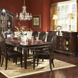 Homelegance - Homelegance Palace 8 Piece Dining Room Set in Brown Cherry - The Palace Collection exemplifies the best of Old World Europe. Egg and dart moldings, rope twists, acanthus and tobacco leaf carvings and florets accentuate each piece; the Palace Collection has it all. These many exquisite details married with a rich br - 1394-108-8-SET.  Product features: Belongs to Palace Collection; Egg and dart base moldings; Rope twists under case tops and on bed posts; Acanthus and tobacco leaf carvings; Florets and inset marble tops; Many exquisite details married with a rich brown finish on cherry veneers; Golden highligh. Product includes: Dining Table (1); Arm Chair (2); Side Chair (4); Server (1). 8 Piece Dining Room Set in Brown Cherry belongs to Palace Collection by Homelegance.
