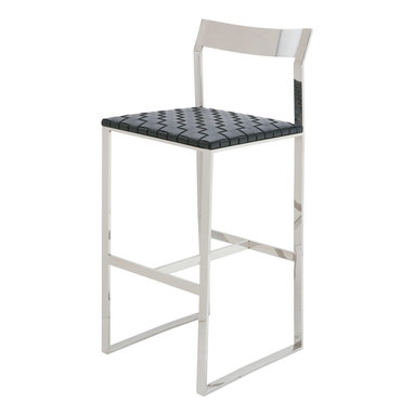 Nuevo Living - Camille Stainless Steel Bar Stool in Black Leather by Nuevo - HGDJ765 - The Camille Stainless Steel Bar Stool in Black Leather by Nuevo features a polished stainless steel frame and woven leather upholstery over CFS foam padding.