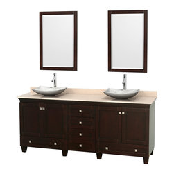 """Wyndham Collection - 80"""" Acclaim Double Vanity w/ Ivory Marble Top & Arista White Carrera Marble Sink - Sublimely linking traditional and modern design aesthetics, and part of the exclusive Wyndham Collection Designer Series by Christopher Grubb, the Acclaim Vanity is at home in almost every bathroom decor. This solid oak vanity blends the simple lines of traditional design with modern elements like beautiful overmount sinks and brushed chrome hardware, resulting in a timeless piece of bathroom furniture. The Acclaim comes with a White Carrera or Ivory marble counter, a choice of sinks, and matching mirrors. Featuring soft close door hinges and drawer glides, you'll never hear a noisy door again! Meticulously finished with brushed chrome hardware, the attention to detail on this beautiful vanity is second to none and is sure to be envy of your friends and neighbors"""