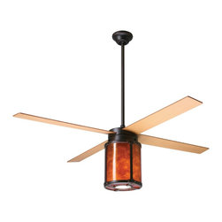 """Period Arts - Arts and Crafts - Mission 42"""" Arcadia Rubbed Bronze and Mica Ceiling Fan - The Arcadia fan was inspired by early 20th Century designs of Dick Van Erp. The design stays true to the West coast Arts & Crafts movement by incorporating hammered metal exposed rivet assembly and a warm mica diffuser. Although authentic in design and appearance these fans offer modern motor design electronic controls and a lifetime motor warranty. It features a rubbed bronze finish motor and maple finish blades. The amber mica shade light kit is fashioned from the naturally occurring mica mineral. Slight variations due to the natural tone and pattern of the mineral make each piece unique. From the Period Arts Fan Company. Rubbed bronze finish motor. Four maple finish blades. Natural mica shade light kit. Lifetime manufacturer motor warranty. Includes wall control. Light kit takes one 100 watt bulb (not included). Overall height 18"""" to 24"""". Includes 3"""" and 9"""" downrods. Canopy 5 1/4"""" wide and 2 1/4"""" height. 42"""" blade span.  Rubbed bronze finish motor.  Maple finish blades.  42"""" blade span.  Natural mica shade light kit.  Includes 3-speed wall control and hand-held remote system.  Lifetime manufacturer motor warranty.  Includes one 100 watt bulb.  Overall height 18"""" to 24"""".  3"""" and 9"""" downrods included.  Canopy 5 1/4"""" wide and 2 1/4"""" high."""