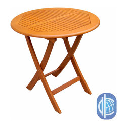 International Caravan - International Caravan Royal Tahiti Yellow Balau Wood 28-inch Round Folding Table - This yellow round folding table is the perfect size for any permanent or temporary addition to your home. Its solid wood construction makes this table comparable in strength to teak wood, while a vibrant yellow color brightens any area.