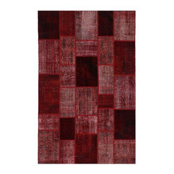 """Pre-owned Deep Red Overdyed Turkish Patchwork Carpet - Traditional Turkish patterns from an assortment of vintage pieces mix to make this hand made, naturally distressed vintage rug. Full cotton backing and decorative blanket stitch edging.    Remnants of vintage wool on a cotton warp, made entirely by hand in the '60's through '80's when Turkish women still included weaving in their daily homemaking chores. Employing the sturdy double knot technique unique to Turkish rugs, multicolor floral and medallion motifs were created a row at a time using bright hand dyed wools. Considered too old fashioned for modern Turkish homes in their traditional incarnations, these rugs have languished in back rooms of the bazaars‰Ű_until now, as these fragments in excellent condition are overdyed and combined to create modern patchwork statements for the floor.    Note from the seller: """"Our revitalization process keeps rugs that may otherwise get tossed out of landfill. Repurposed discards are helping artisans connect and create, supporting the community we're building here in Istanbul to revive vanishing traditional fiber crafts.‰Űť    Please note that all sales are final - These amazing rugs are coming direct from Istanbul, Turkey and returns will not be allowed."""