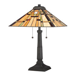 Quoizel - Quoizel Vintage Bronze Lamps - SKU: TF1612TVB - The 22.5``-high Mill Run table lamp makes a handsome addition to a variety of interior design styles with its organic, nature-inspired tones and its nod to Mission and Prairie School patterns. The art glass shade is comprised of 256 pieces of glass that are hand-assembled using the copper foil technique developed by Louis Comfort Tiffany. The Vintage Bronze finish adds visual richness to the sculptural base. Ample illumination is provided by the two 75-watt medium-base bulbs.