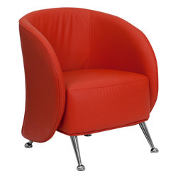 Flash Furniture - Jet Red Leather Reception Chair - The uniquely designed Jet Chair features a design equipped to adapt in any office space. This chair features an enveloping wrap around frame with protruding legs that is sure to impress.