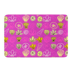 "KESS InHouse - Jane Smith ""Under the Sea Mermaid"" Pink Gold Memory Foam Bath Mat (17"" x 24"") - These super absorbent bath mats will add comfort and style to your bathroom. These memory foam mats will feel like you are in a spa every time you step out of the shower. Available in two sizes, 17"" x 24"" and 24"" x 36"", with a .5"" thickness and non skid backing, these will fit every style of bathroom. Add comfort like never before in front of your vanity, sink, bathtub, shower or even laundry room. Machine wash cold, gentle cycle, tumble dry low or lay flat to dry. Printed on single side."
