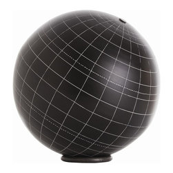 Arteriors - Gaia Table Globe - This large table globe is blank of features, save for the latitudinal and longitudinal grid lines, but its black surface has a chalkboard finish so that you can add any features you wish. Use it as a learning tool, as an elegant desk accent or even a place to take notes. A heavy iron ring base offers movable stability.