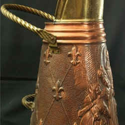 EuroLux Home - Consigned Vintage Copper & Brass Coal Scuttle - Product Details