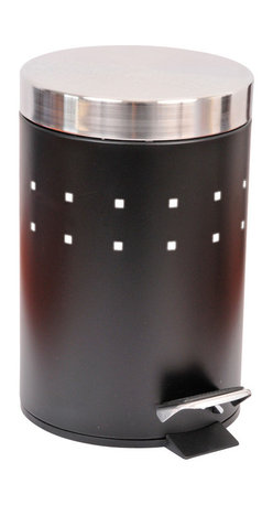 Metal Step Trash Can 0.8-Gal- Stainless Steel Cover, Black, 3-Litter - This step trash can is metal with a chic stainless steel lid. This round shaped trash can brings a modern style to your home with its perforated metal holes decoration and fits easily in rooms with limited places. It offers a removable inner bucket for easy bag change and has a non-skid rubber pad base. A simple step action makes it easy to operate. This trash can is a lovely accent for any bathroom or under a desk with its capacity of 3-Liter/0.8-Gal. Diameter of 6.69-Inch and height of 10.43-Inch. Wipe clean. Color black. Complete your decoration with other products of the same collection. Imported.