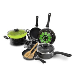 """Epoca - Artistry Cookware Set - Cook well and Do Good with this Ecolution Eco-Friendly 12 Pc. Artistry aluminum Cookware Set. Groovy rings on the bottom of the pans distribute heat evenly for optimum performance. Squeezable silicone handles always keep cool. Non-stick Hydrolon coating is an ecologically advanced water based coating that is made without PFOA for fewer greenhouse gases. Glass lids let you see what's cooking without letting heat escape. Dishwasher Safe. Set includes: 8"""" Fry Pan 9-1/2"""" Fry Pan 11"""" Fry Pan 1 Qt. Saucepan with Glass Lid 2 Qt. Saucepan with Glass Lid 5 Qt. Dutch Oven with Glass Lid Collapsible Silicone Steamer Bamboo Spoon and Bamboo Spatula."""
