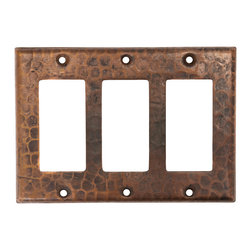Premier Copper Products - Triple Ground Fault/Rocker Cover GFI - Copper Switchplate Triple Ground Fault/Rocker Cover GFI