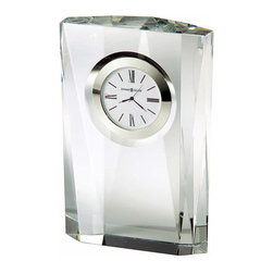 HOWARD MILLER - Howard Miller Quest Crystal Table Clock - This striking optical crystal clock features muti-faceted sides.